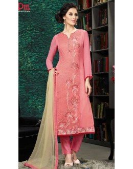 Ethnic Wear Pink & Beige Georgette Salwar Suit  - 8905