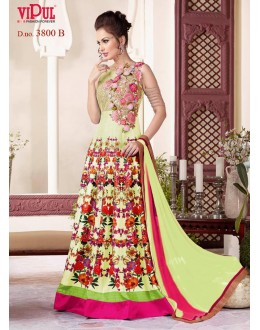 Party Wear Light Green Raw Silk Gown - VIPUL-3800B