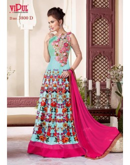 Wedding Wear Light Blue Gown - VIPUL-3800D