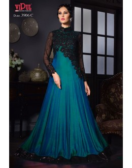 Party Wear Teal Blue Silk Gown - VIPUL-3906C