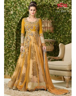 Party Wear Orange Net Gown - VIPUL-4002A