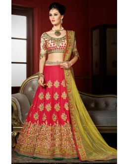 Wedding Wear Red & Yellow Bhagalpuri Lehenga Choli - 1001