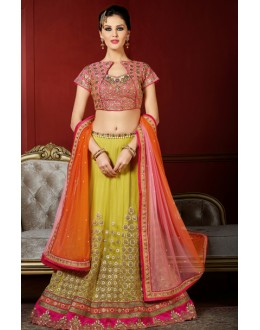 Traditional Yellow & Pink Net Lehenga Choli - 1004