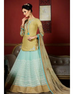 Party Wear Beige & Blue Jute Net Lehenga Choli - 1005