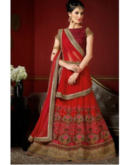 Designer Red Georgette Embroidery Lehenga Choli - 1006