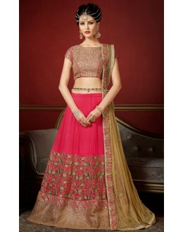 Wedding Wear Pink & Beige Net Lehenga Choli - 1008