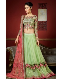 Fancy Green & Pink Net Embroidery Lehenga Choli - 1009