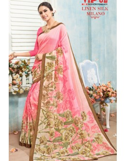 Ethnic Wear Pink Linen Silk Saree  - 19008