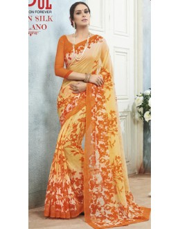 Ethnic Wear Orange Linen Silk Saree  - 19011