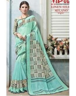 Casual Wear Blue Linen Silk Saree  - 19014