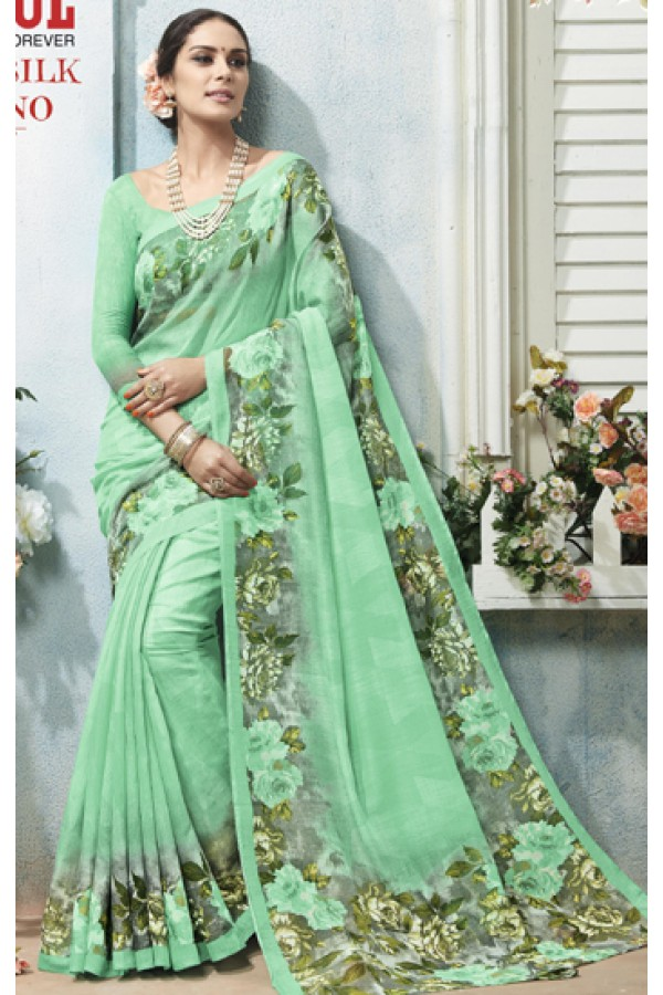 Festival Wear Green Linen Silk Saree  - 19018