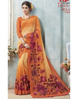 Ethnic Wear Orange Linen Silk Saree  - 19021