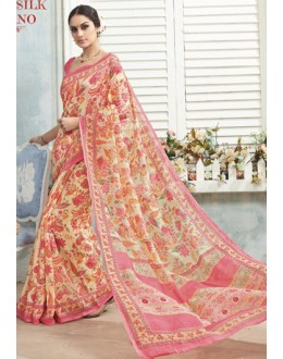 Ethnic Wear Pink Linen Silk Saree  - 19029