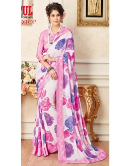 Casual Wear White & Pink Faux Georgette Saree  - 19614