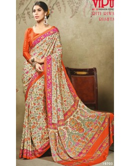 Casual Wear Multicolour Crepe Silk Saree  - 19703