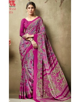 Casual Wear Multicolour Crepe Silk Saree  - 19704