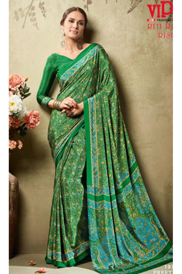 Ethnic Wear Green Crepe Silk Saree  - 19711