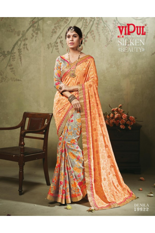 Ethnic Wear Orange & Multicolour Art Silk Saree  - 19922