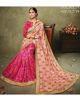 Party Wear Pink Art Silk Saree  - 19925
