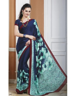 Ethnic Wear Blue Crepe Silk Saree  - 20017