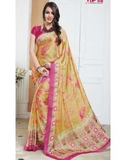 Festival Wear Yellow & Pink Crepe Silk Saree  - 20020
