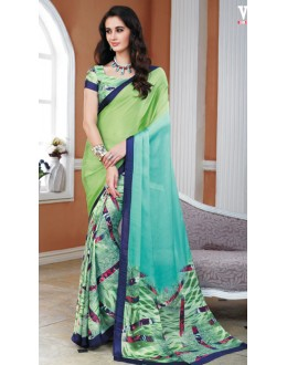 Casual Wear Multicolour Crepe Silk Saree  - 20021