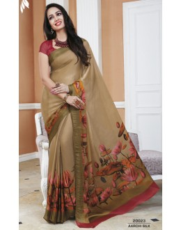 Casual Wear Beige & Maroon Crepe Silk Saree  - 20023