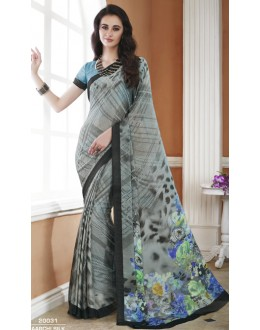 Ethnic Wear Grey Crepe Silk Saree  - 20031