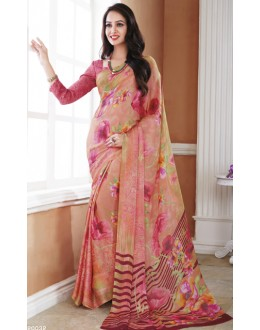 Ethnic Wear Pink Crepe Silk Saree  - 20032