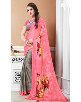 Casual Wear Pink & Grey Crepe Silk Saree  - 20033