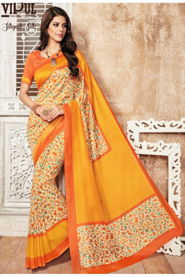 Casual Wear Multicolour Silgudi Picaso Silk Saree  - 20226
