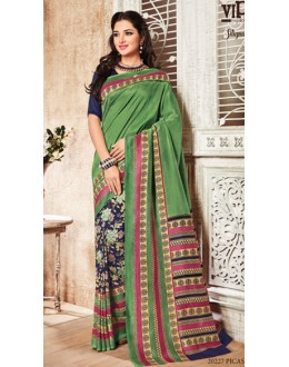 Casual Wear Green & Blue Silgudi Picaso Silk Saree  - 20227