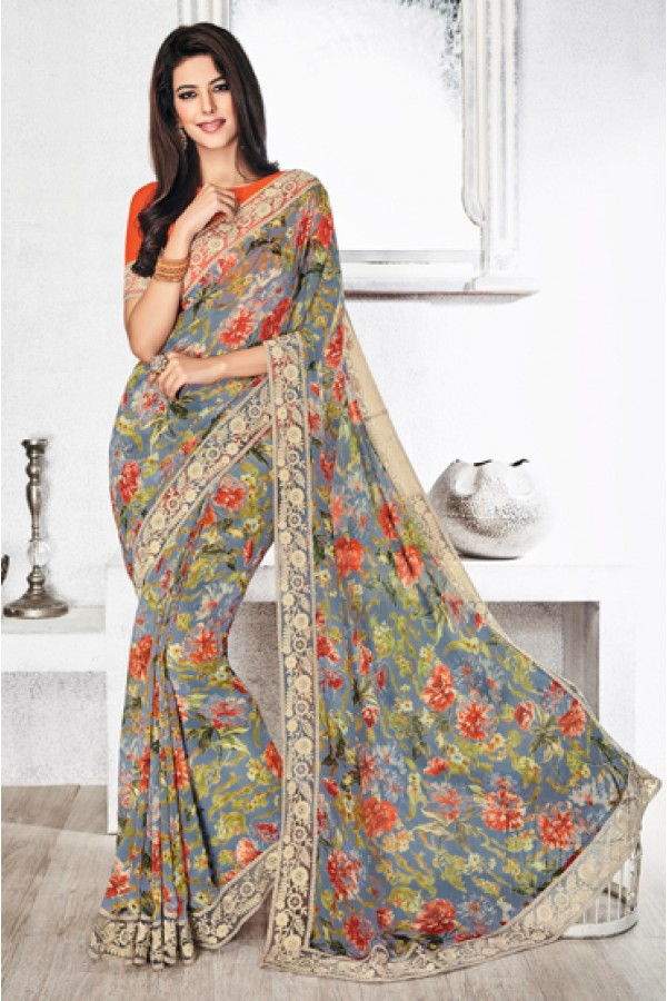 Festival Wear Multicolour Royal Georgette Saree  - 20311