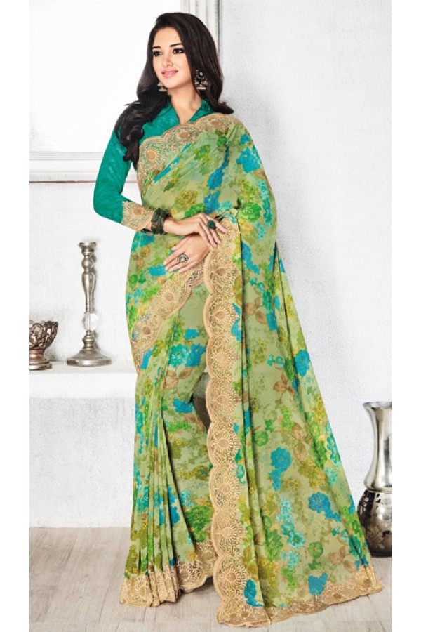 Ethnic Wear Green Royal Georgette Saree  - 20312