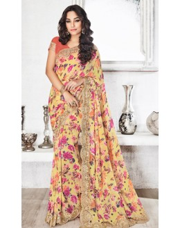 Festival Wear Yellow & Pink Royal Georgette Saree  - 20313