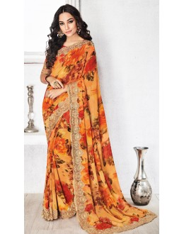 Casual Wear Yellow Royal Georgette Saree  - 20315