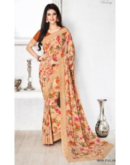 Party Wear Beige & Red Royal Georgette Saree  - 20316