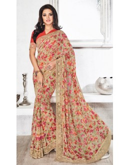 Casual Wear Beige & Pink Royal Georgette Saree  - 20317