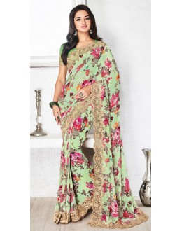 Festival Wear Green Royal Georgette Saree  - 20318