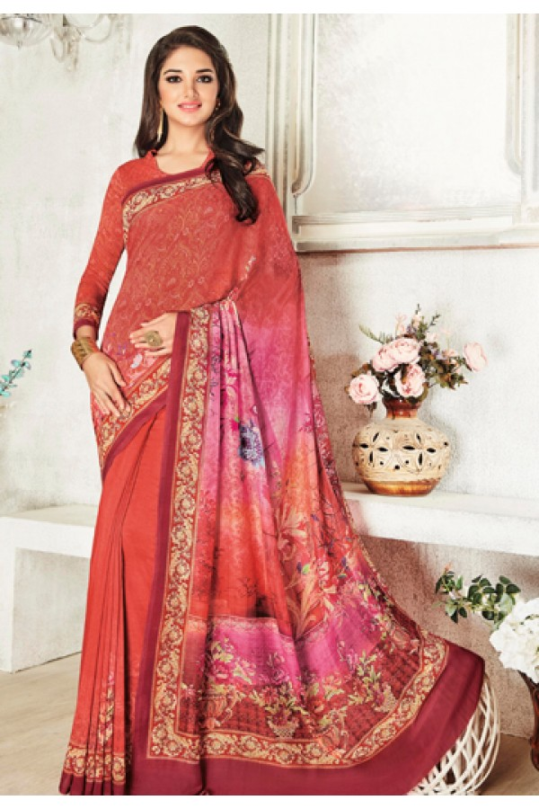 Casual Wear Pink Jacquard Georgette Saree  - 20424