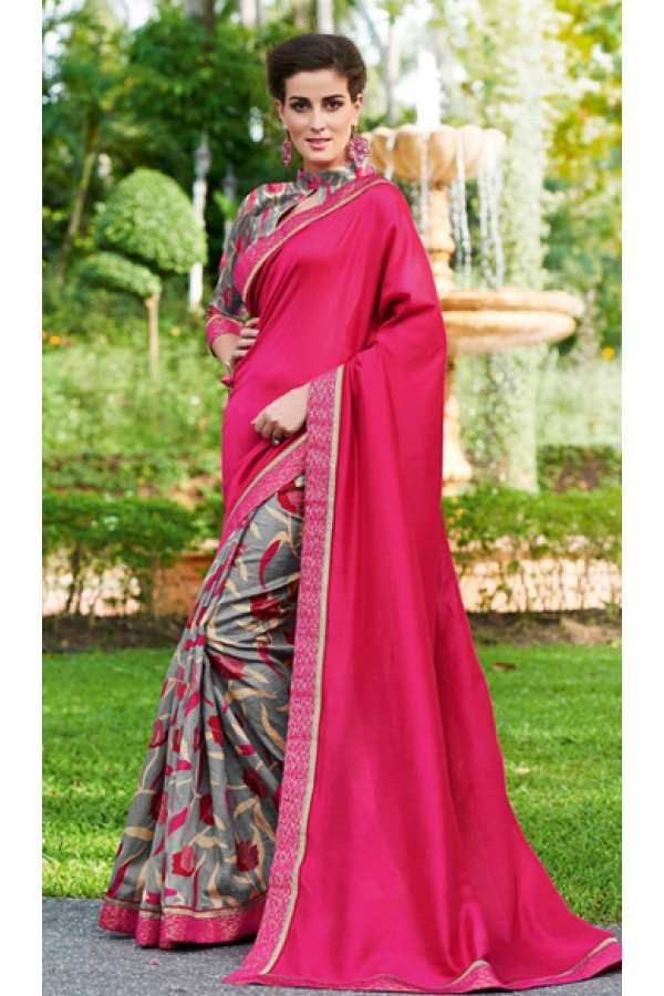 Party Wear Pink & Grey Ruby Silk Saree  - 20603
