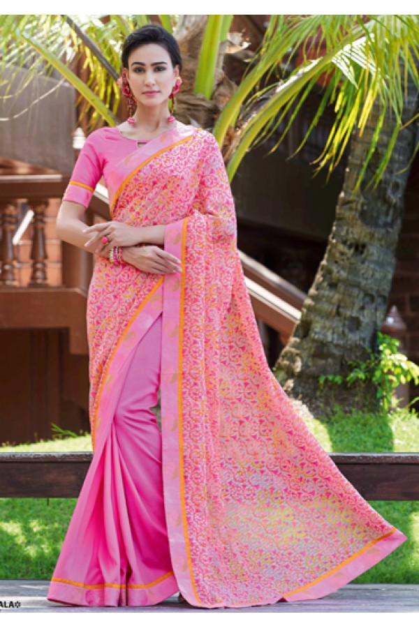 Casual Wear Pink Ruby Silk Saree  - 20605