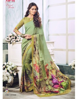 Casual Wear Green Soft Georgette Saree  - 21007