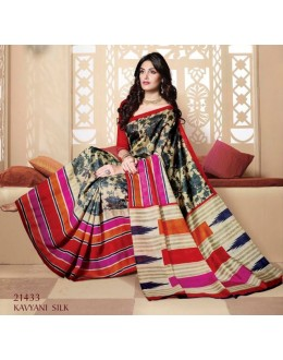 Party Wear Multi-Colour & Red Saree  - VIPUL-21433
