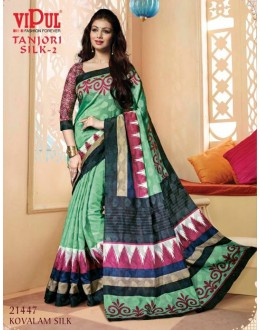 Ayesha Takia In Green & Pink Saree  - VIPUL-21447