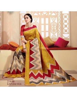 Ethnic Wear Yellow & Red Saree  - VIPUL-21448
