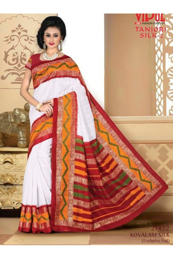 Party Wear White & Red Saree  - VIPUL-21452
