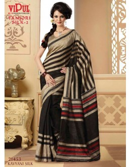 Party Wear Black & Beige Saree  - VIPUL-21453