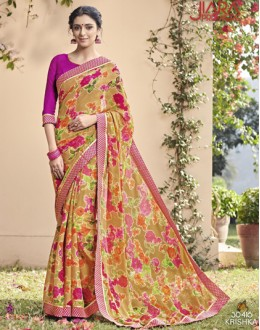 Casual Wear Beige & Pink Saree  - VIPUL-30416