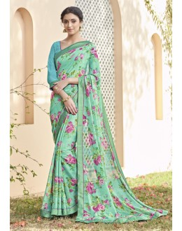 Ethnic Wear Sea Green Saree  - VIPUL-30422